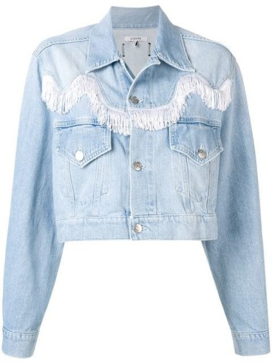 GANNI cropped denim fringed jacket | bleached blue jackets