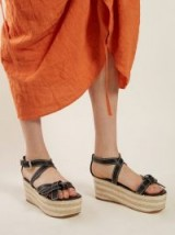 LOEWE Gate knotted black leather wedge sandals
