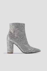 Linn Ahlborg x NA-KD Glitter Heel Boots Silver ~ glittering bootie