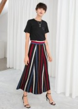& other stories Glitter Stripe Midi Skirt / metallic knitwear