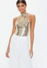 MISSGUIDED gold high neck sequin bodysuit – metallic party tops