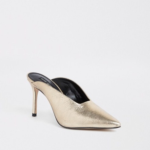 RIVER ISLAND Gold leather pointed toe slim heel mules / metallic evening shoes - flipped