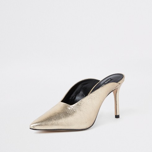 RIVER ISLAND Gold leather pointed toe slim heel mules / metallic evening shoes