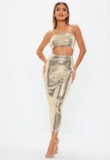 MISSGUIDED gold sequin midi skirt ~ shiny party skirt