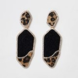 RIVER ISLAND Gold tone leopard diamante pave drop earrings – going out glamour