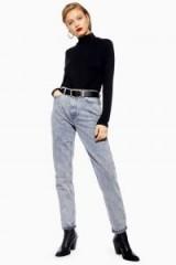 Topshop Grey Acid Wash Mom Jeans | tapered leg