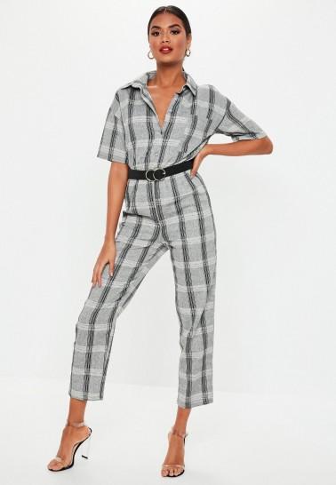 MISSGUIDED grey check print short sleeve jumpsuit ~ crop leg jumpsuits