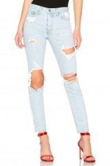 GRLFRND Karolina High-Rise Skinny Long Jean Jaggar – ripped light blue denim