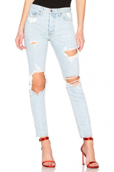 GRLFRND Karolina High-Rise Skinny Long Jean Jaggar – ripped light blue denim