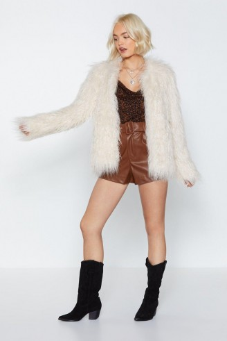 NASTY GAL Groovy Baby Shaggy Faux Fur Coat in cream