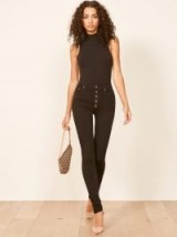 Reformation High & Skinny With Snap Front in Black | stretch denim skinnies