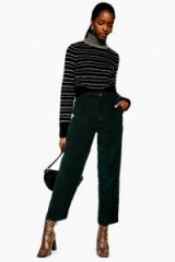 TOPSHOP High Waisted Corduroy Trousers in forest – green cord pants