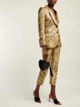 DOLCE & GABBANA High-rise gold floral-jacquard cropped trousers ~ luxury Italian pants