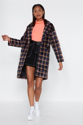 NASTY GAL Hit the Check Longline Coat in Blue