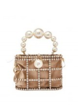 ROSANTICA BY MICHELA PANERO Holli crystal cage bag ~ small pearl handle handbag