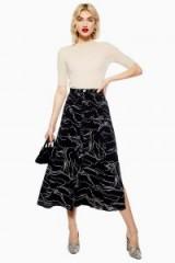 Topshop Horse Scribble Midi Skirt in Black   animal print skirts