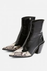 Topshop HOWDIE High Ankle Boots in Black  pointy snake detail toes
