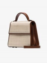 Hunting Season Brown And Neutral Top Handle Straw And Leather Bag | small handbags