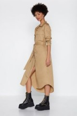 NASTY GAL I Need a Soldier Button-Down Dress in taupe – brown tone fashion