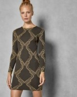 TED BAKER HILIYA Ice Palace knitted dress in charcoal / lurex knit partywear