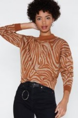 NASTY GAL If Luxe Could Kill Zebra Sweater in tan – animal pattern jumper