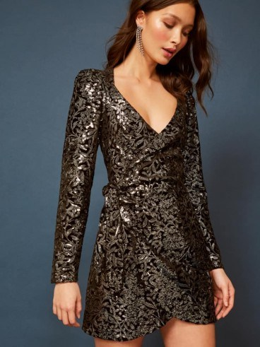 Reformation Ivy Dress in Avalon | sequinned party dresses - flipped