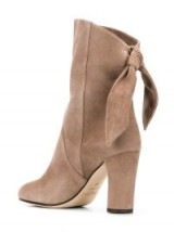JIMMY CHOO Malene boots in stone   light brown back knot boot
