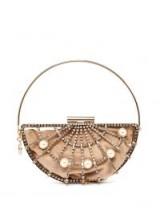 ROSANTICA BY MICHELA PANERO Jodi crystal cage bag ~ beige velvet embellished bags