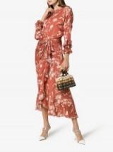 Johanna Ortiz Gardeners Edge Floral Print Gathered Silk Dress in Rust | feminine fashion