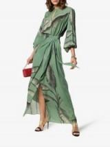 Johanna Ortiz Spirit Of Aloha Green Silk Georgette Dress