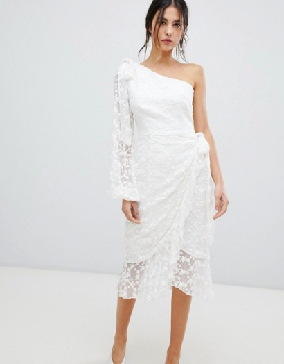 Keepsake Retrospect one sleeve lace midi dress in ivory – glamorous party dresses