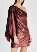KEEPSAKE No Signs bordeaux sequinned mini dress / one shoulder occasion glamour