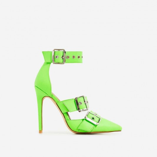 EGO Kendall Buckle Strap Detail Heel In Neon Green Faux Leather ~ strappy stiletto heels
