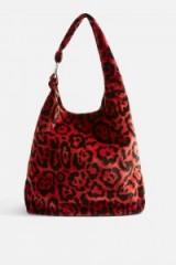 TOPSHOP Kenya Leopard Red Tote Bag ~ soft slouchy shoulder bags