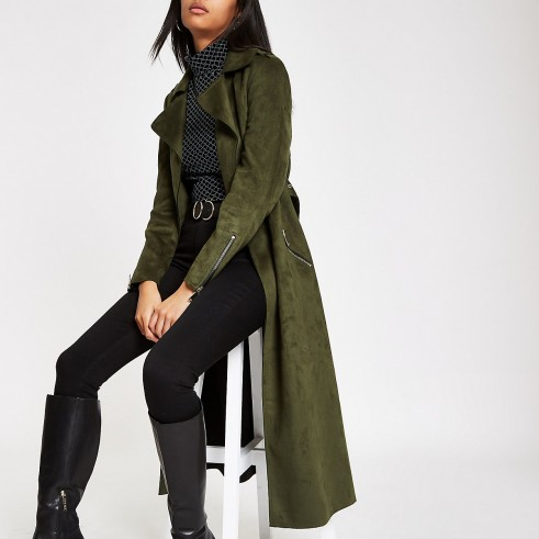 River Island Khaki faux suede belted trench coat – green coats