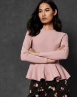 Ted Baker HINLINA Knitted peplum jumper in dusky pink – feminine knitwear