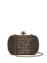 BOTTEGA VENETA Knot metallic-gold clutch ~ luxe event bags