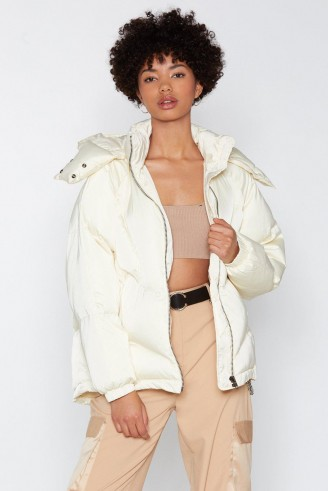 NASTY GAL Layer It On Padded Coat in White