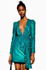 Topshop Leather Frill Mini Dress in Green | plunge front party dresses