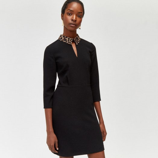 WAREHOUSE LEOPARD COLLAR SHIFT DRESS in black / lbd