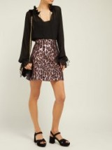 MIU MIU Leopard-brocade mini skirt in pink ~ luxe designer fashion