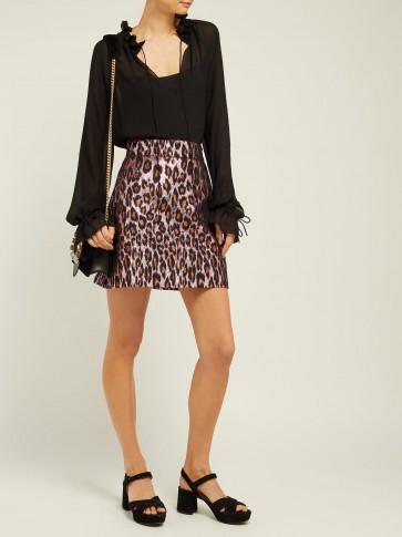 MIU MIU Leopard-brocade mini skirt in pink ~ luxe designer fashion