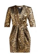 SARA BATTAGLIA Leopard-print gold lamé wrap mini dress ~ 80s vintage glamour