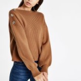 RIVER ISLAND Light brown boat neck button detail jumper – ribbed knit sweater