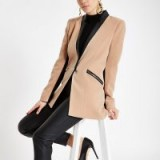 RIVER ISLAND Light brown zip pocket blazer – stylish jackets