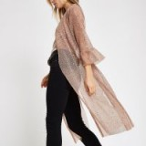 RIVER ISLAND Light pink sequin kimono duster jacket – sheer luxe style kimonos
