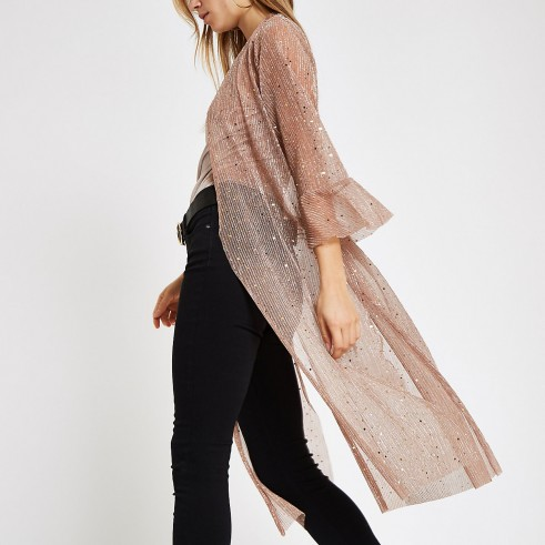 RIVER ISLAND Light pink sequin kimono duster jacket – sheer luxe style kimonos