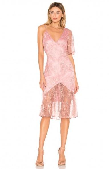 Lovers + Friends Elora Midi Dress metallic rose – pink semi sheer dresses - flipped