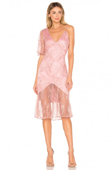 Lovers + Friends Elora Midi Dress metallic rose – pink semi sheer dresses