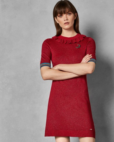 TED BAKER SABIE Lurex knitted dress in dark-red / silver thread knitwear